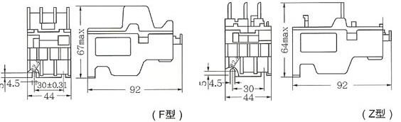 JRS1-12、25、32热继电器外型与安装尺寸