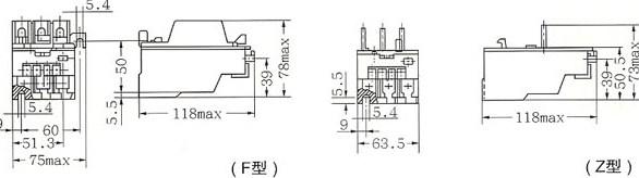 JRS1-12、25、32热继电器外型与安装尺寸  JRS1-63、80热继电器外型与安装尺寸