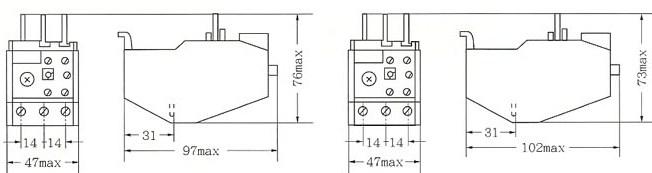 JRS2-12.5和JRS2-25外型及安装尺寸