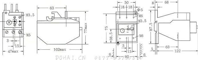 JRS2-32和JRS2-80外型及安装尺寸图