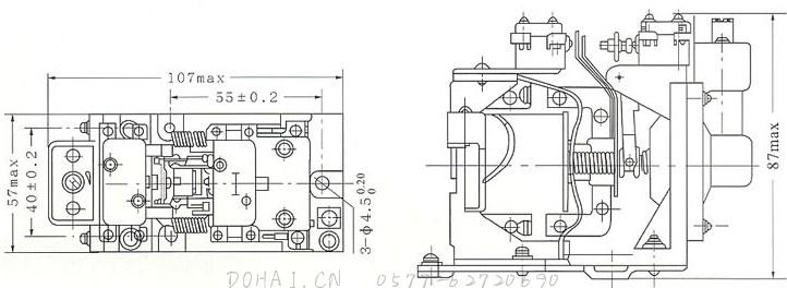 JS7-A空气式时间继电器的外型及安装尺寸