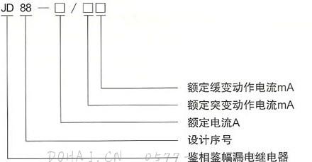 JD88鉴相鉴幅无声运行漏电继电器的型号及含义