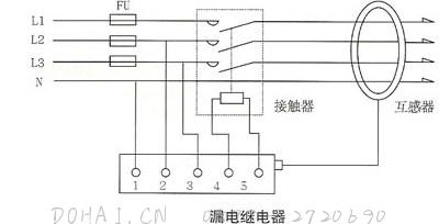 JD88鉴相鉴幅无声运行漏电继电器的接线图