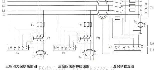 JD88鉴相鉴幅无声运行漏电继电器的三相接线图、总接线图