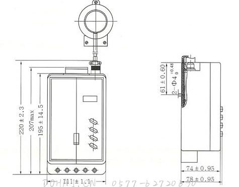 JD88鉴相鉴幅无声运行漏电继电器的外型及安装尺寸