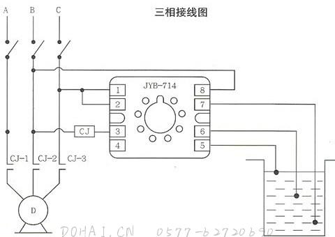 JYB晶体管液位继电器的三相接线图