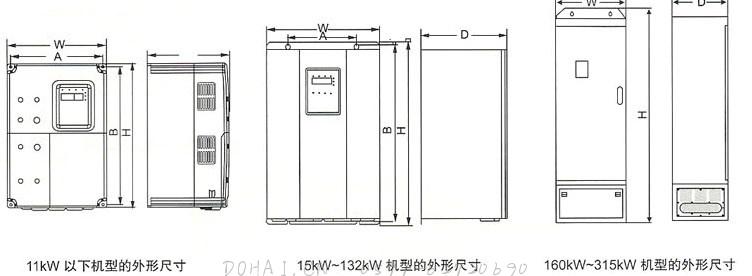 SR800(YT800)系列电流矢量型变频器外形尺寸