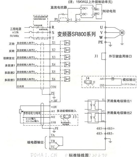SR800(YT800)系列电流矢量型变频器的接线图