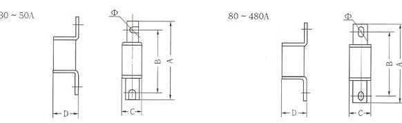 RS0系列熔断器的安装示意图