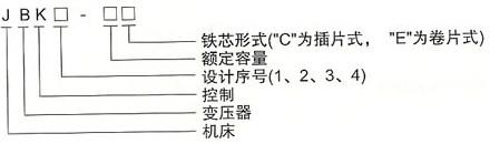 JBK系列机床控制变压器的型号及含义