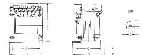 JBK系列机床控制变压器的外型示意图