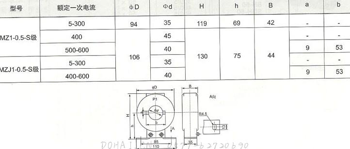 LMZ(J)-0.5-S级(5-600/5)的技术参数及安装尺寸