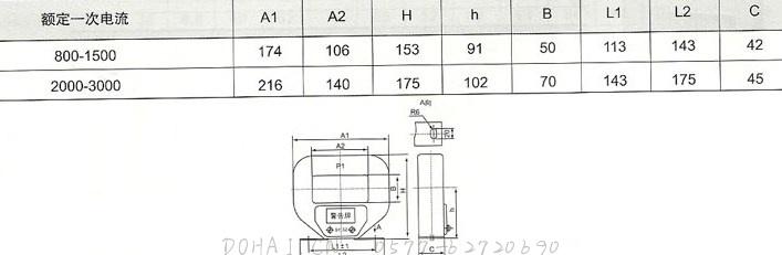 LMZJ1-0.5-S级(750-1500/5)的技术参数及安装尺寸