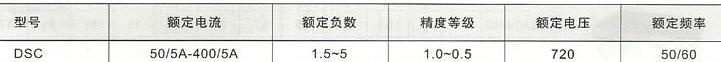 DSC系列电流互感器的技术参数