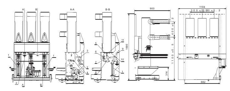 ZN85-40.5断路器的外形及安装尺寸