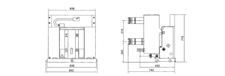 VS1-24断路器的外形及安装尺寸