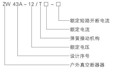 ZW43-12真空断路器型号含义说明