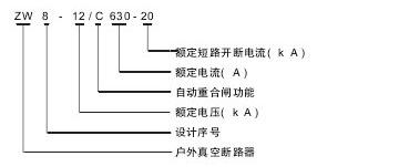 ZW8-12C真空断路器型号含义说明