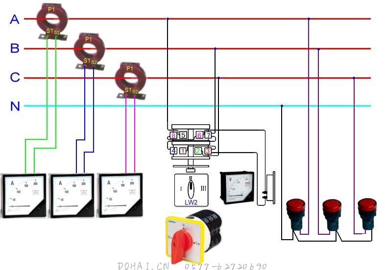 相关产品说明:电流互感器3台,电流表三只,指示灯三只,电压表一只,LW2万能转换开关一个。 基本的接线方式如上,附一些相关说明: 2 5 7接电源,3、6接电压表 A,B,C相线,A接5,B接7,C接2。知识图中所示接线,一般情况下,任意接,通过旋转开关转换供电压表显示相应两相的电压值即可。 以上就是文章的主要内容,以后会多多一些一些产品的接线图等资料。