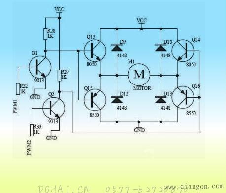 完整的晶体管h桥驱动电路,pwm1